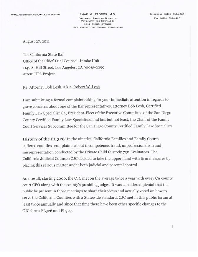 Complaint to ca state bar attorney w robert lesh aka for Replying to a complaint letter template