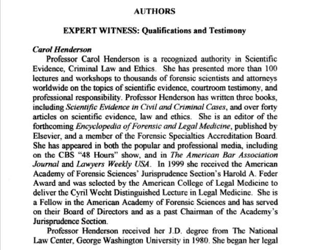 Carol Henderson, Expert Witness
