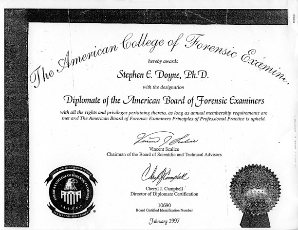Stephen Doyne's sham credential, american college of forensic examiners stephen doyne