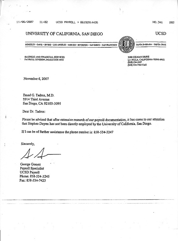 UCSD Letter Stephen Doyne not on payroll at UCSD